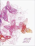 Brunnen 107296207 Schülerkalender/Schüler-Tagebuch (1 Seite = 1 Tag, 12x16cm (A6), Einband wattiert Schmetterling, Kalendarium 2016/2017)