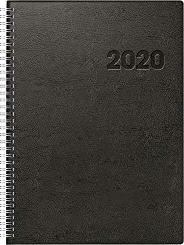 rido/idé 7027501 boekkalender Conform (1 pagina = 1 dag, 210 x 291 mm, kunststof plafond zwart, kalender 2020, Wire-O-binding)