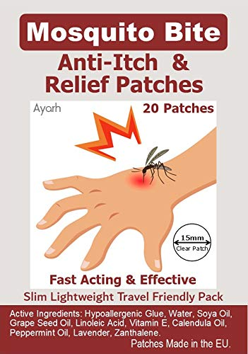 Mosquito Bite Anti-Itch & Relief Patches. Fast Acting & Effective, Travel Friendly Pack, Easy to Use and Discreet. Made in EU. 20 Patches.