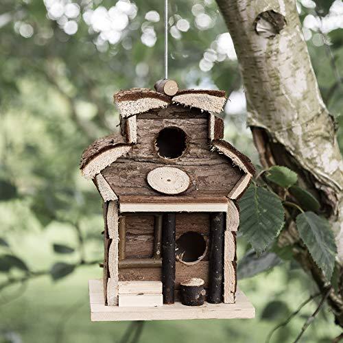 garden mile Novelty Wooden Hanging Bird House Hotel | Natural Wood Wild Bird Nesting Box for the Garden | Log Cabin Bird Hut Garden Decorations (Wooden Bird Hotel)