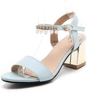 BalaMasa Womens ASL06532 Pu Block Heels