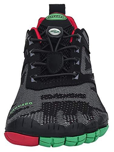 SAGUARO Hombre Mujer Barefoot Zapatillas de Trail Running Zapatos Minimalista de Deporte Cómodas Ligeras Calzado de Correr en Montaña, Rojo 42 EU