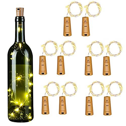 Runaup Luces de botella de vino con corcho,10x 2M 20LED blanco cálido Luz de cadena de alambre de cobre para botellas Con Alimentación de Batería Botella de luz para decoración de mesa,fiesta,boda