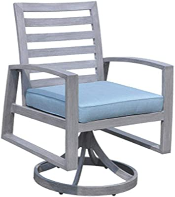 Courtyard Casual 5267 Cabo Collection 2 Swivel Rockers with Sunbrella Cushions 2 Piece Set, Grey