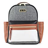 Itzy Ritzy Mini Diaper Bag Backpack – Chic Mini Diaper Bag Backpack with Vegan Leather Changing Pad, 8 Total Pockets (4 Internal and 4 External), Grab-Top Handle and Rubber Feet, Coffee & Cream