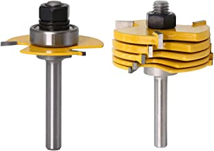 Yakamoz 1/4 Inch Shank 3-Wing Adjustable Slot Cutter Router Bit Set with Bearings   6-Picecs Slotting Cutting Blades, 1/2 Inch Cutting Depth, 6 Different Cutting Widths