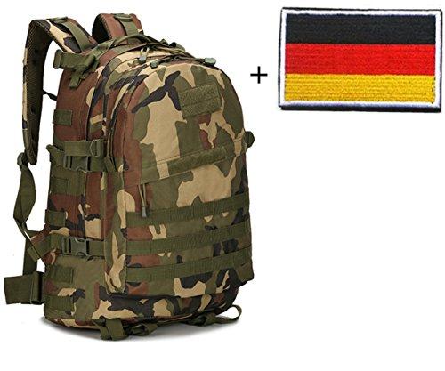 AIDO nger Militare ischer Escursionismo Zaino tattico 3Giorni Assault Pack Molle Campeggio Zaino + taktischer Patch, Verde Militare, M