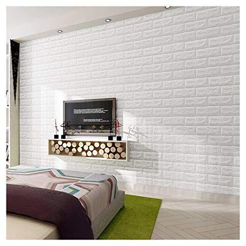 Ann Foam 3D Wallpaper, Weiß PE Foam Wall Stickers 3D Patterns Wallpaper Mauer Relief Steine Ziegel Tapete Rollen DIY Wand Dekor Ziegelstein Wand-Aufkleber Selbstklebendes (Size : 8x0.7m)