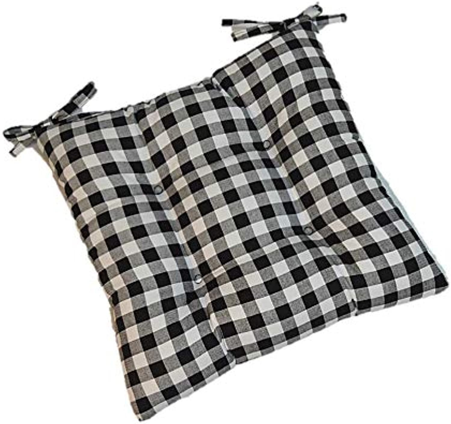 Rera Shop New Black Plaid Gingham Tufted Seat Cushion for Kitchen Dining Chair (22 x21 )