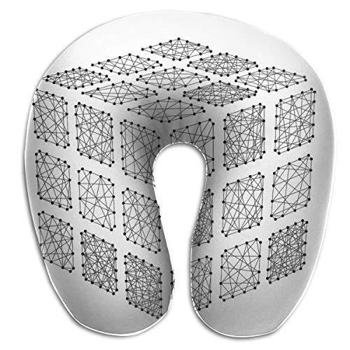 Sabalone Almohada para el Cuello Cubo de Rubik desmontado de la Almohada de Viaje en Forma de U futurista Abstracta Funda Lavable con diseño Contorneado ergonómico
