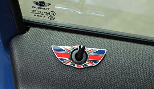 iJDMTOY (2) Union Jack Style Wing Emblem Rings Compatible With MINI Cooper R60 Countryman R61 Paceman Door Lock Knobs, Red/Blue UK Flag Design
