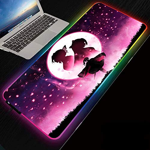 Pink RGB Gaming Mouse Pad Extended XXL Mouse Mat with LED 14 Lighting Modes and Non-Slip Rubber Base for Home/Office - Anime Demon Slayer Kochou Shinobu 31.5x11.8 in