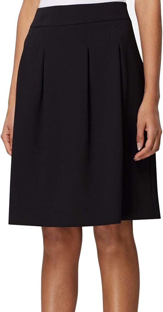 TAHARI Womens Black Knee Length Pleated Wear to Work Skirt Size 4