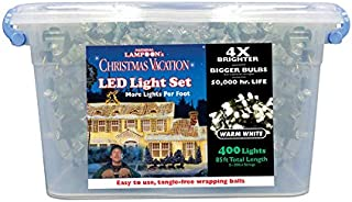 String Light, National Lampoon's Christmas Clark Griswold Project Pack of 400 LED Lights 4X Brighter 85 feet. 8mm Concave. Warm White.