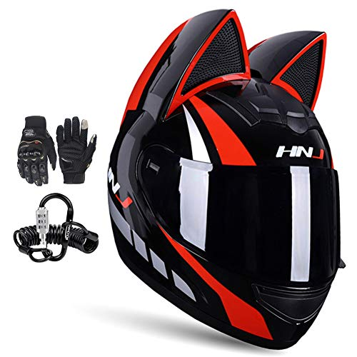 DYJD Motorcycle Helmet with Cat Ear,Full Face Motorcycle Helmet Removable Lining All Season Breathable Cute Men And Women with Gloves And Helmet Lock,Black Red,L