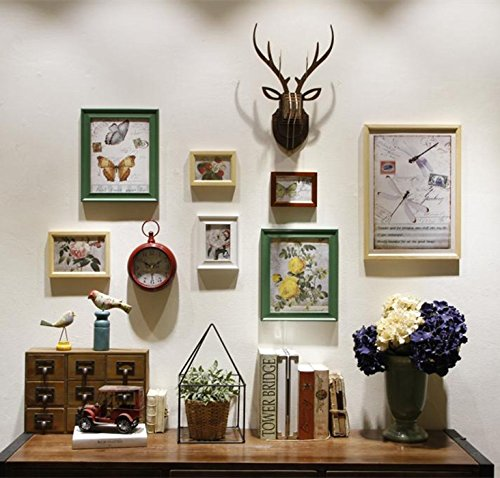 De woonkamer restaurant met een creatieve foto wandklok Amerikaanse idyllische lijst van hout Home combinatie muur fotolijst DassRetro groen 4-kleuren missen + teakhouten hertenkop