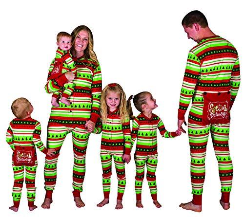 Pijamas Enteros Navidad Familia Pijama Mono Rayas Navideñas
