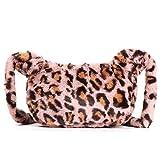 Women Faux Fur Shoulder Bags Fluffy Plush Handbags Leopard Messenger Bag Large Capacity Crossbody Fashion Autumn Winter Bag(style B,pink)