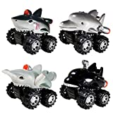 DINOBROS Shark Toys Pull Back Cars for Boys and Toddlers 4 Pack Ocean Sea Animal Truck Toy Dolphin Hammerhead Shark Killer Whale Playset Gift for 3 Years Old and Up