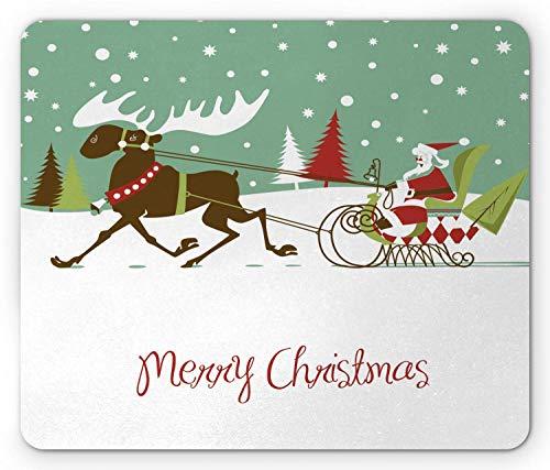Christmas Mouse Pad, Frohe Weihnachten Schriftzug Santas Schlitten mit Rentier Snowy Woods Retro Style, Rechteck Rechteck Rutschfeste Gummi Mousepad, Mehrfarbig
