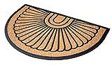 BIRDROCK HOME 24 x 36 Half Round Natural Coir and Rubber Doormat - Natural Fibers - Outdoor Doormat - Keeps Your Floors Clean - Decorative Design - Brush Coir