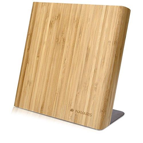 Navaris Messerhalter magnetisch Messerbrett aus Bambus - Magnet Messerblock Holz Magnethalter - Magnet-Messerblock Messer Halterung unbestückt braun