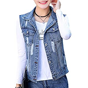 Women's Buttoned Ripped Denim Vest Jacket Washed Sleeveless Denim Jea...