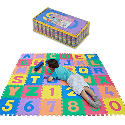 TLCmat - EN71 Safety Approved Non-Toxic Soft Puzzle Jagsaw Foam Play Mat with Storage Bag (Alphabet/Number 36pcs Pack)