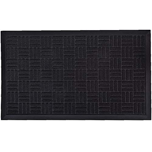 Gorilla Grip Durable Natural Rubber Door Mat, Waterproof, Low Profile, Heavy Duty Welcome Doormat for Indoor and Outdoor, Easy Clean, Rug Mats for Entry, Patio, Busy Areas, 17x29, Black Maze