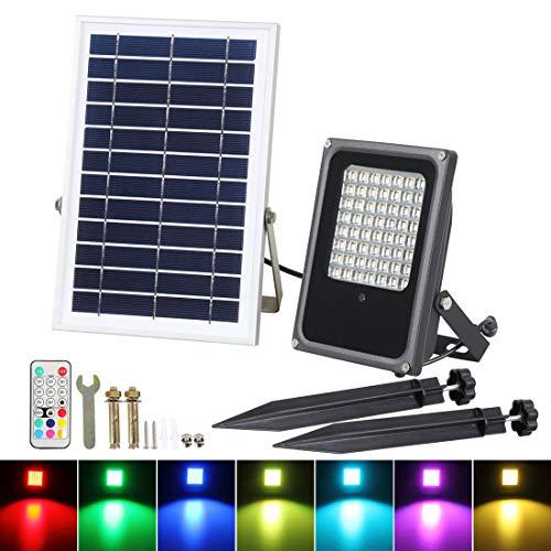 Dxyap LED Solar Strahler, Solar-LED-Fluter für außen, RGBW, 50 Watt, Außen-Sicherheitsbeleuchtung mit Fernbedienung