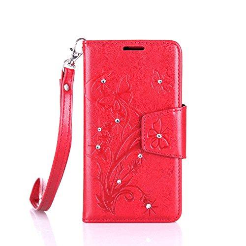 lenovo A2010 Hülle Coozon Flip Hülle mit lebenslanger Garantie Kartenfächern & Standfunktion Cover Wallet fürlenovo A2010 (4,5 Zoll) Schmetterling rot