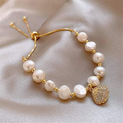 LXMYLI Pulsera De Perlas, Personalidad Pulsera De Perlas De Concha Señora Elegante Pulsera De Temperamento Tendencia Accesorios De Perlas Naturales