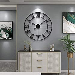 Large Modern Metal Wall Clocks Rustic Round Silent Non Ticking Battery Operated Black Roman Numerals Clock for Living Room/Bedroom/Kitchen Wall Decor-40cm (40)