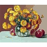 Pintura por números,Chrysanthemum Apple Pintura por Números para Adultos Bricolaje Lienzo Preimpreso Pintura al óleo Arte Decoración del Hogar Reducir la Ansiedad,40cmX50cm(sin marco).