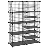 SONGMICS Cube Storage Unit, Shoe Rack, Interlocking Metal Wire Organizer with Dividers, Modular Cabinet, DIY for Closet, Living Room, Kid's Room, 48.4 x 12.2 x 36.6 Inches, Black ULPI401H