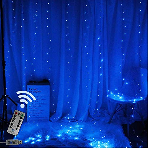 TEALP Window Curtain Lights 200 LED USB Powered Fairy String Lights with Remote, 8 Settings Twinkle Lights for Bedroom Parties,Weddings,Wall Decorations (9.8x6.6Ft Multi-Color)