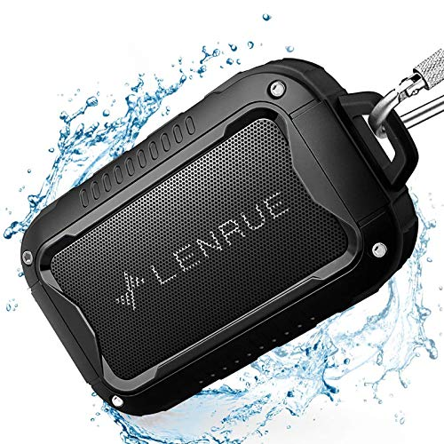 Waterproof Bluetooth Speakers V5.0,Portable Wireless Speaker for Outdoor,10W,10H Playtime,for PC Tablet Laptop Computer,All Andriod iPhone Cell Phone,Perfect for Hiking,Camping,Cyclying Sports (BLACK)