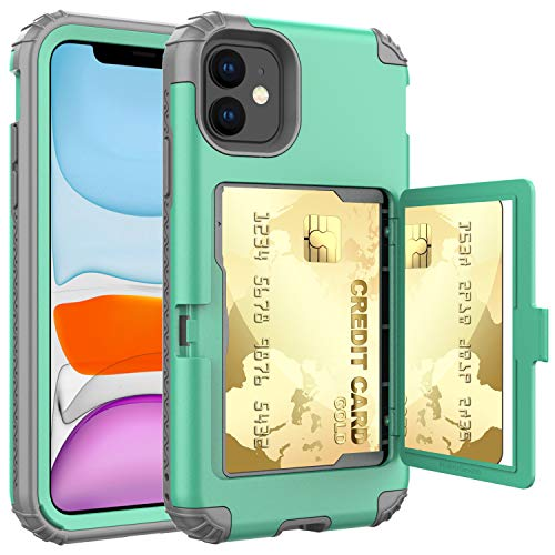 ACXLIFE iPhone 11 Case,11 Wallet Credit Card Holder Case,Protective Hybrid Cover with Card Slot Holder and Mirror & Kickstand Case for iPhone 11 6.1 Inch (Green)