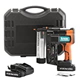 Knox Cordless Nail and Staple Gun - 18 Gauge Brad Nailer and Stapler Combo with 2 Heavy 18V Rechargeable Batteries and Case - Single or Contact Firing