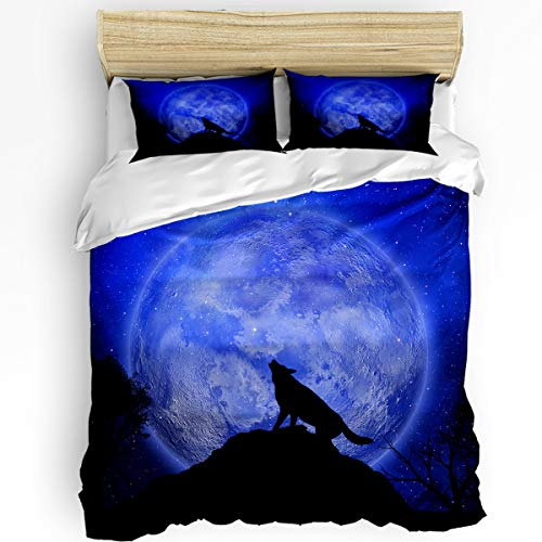 YEHO Art Gallery Full Size Funny 3 Piece Duvet Comforter Cover Sets Super Soft Bedding Set for Children Kids Girls Boys,The Shadow of Wolf Moon Pattern,Include 1 Duvet Cover with 2 Pillow Cases