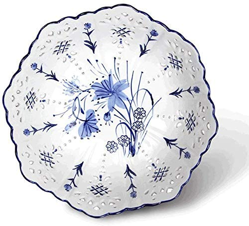 LHQ-HQ Tazón de fruta china tazón de fuente de cerámica hueco creativo sala de estar mesa de café decoración hogar moderno cesta de fruta tazón de fruta (color: azul)