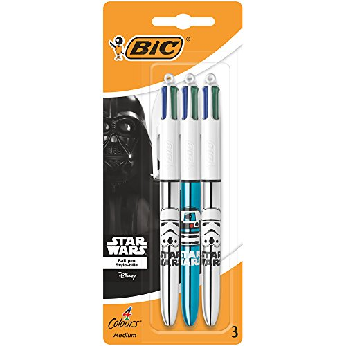 BIC Star Wars 4 colores bolígrafos punta media (1,0 mm) – colores Surtidos, Blíster de 3 unidades