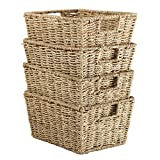 Welcare Set of 4 Seagrass Storage Baskets with Insert Handles Ideal for Home and Bathroom Organization