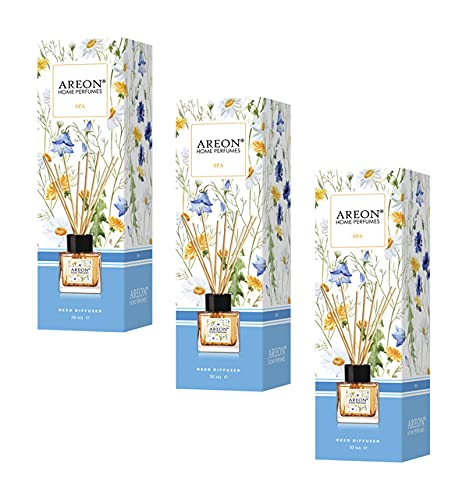 AREON Difusor Ambientador Varillas 50 ml Aroma SPA Pack 3 - ambientador Coche Nuevo hogar casa ambientadores Olor baño humificador...