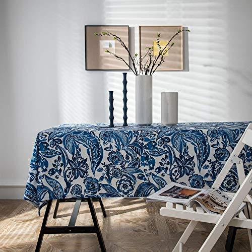 Hanggg Tafelkleed Waterdicht Blauw Polyester Katoen Tafelkleed Woonkamer Vierkant Koffie Tafel Eetkamer Cover Handdoek