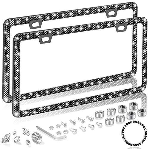 ONCHA Bling Black Rhinestone License Plate Frame for Women, Luxury Handmade Thin Border Stainless Steel License Plate Frames for Front Back License