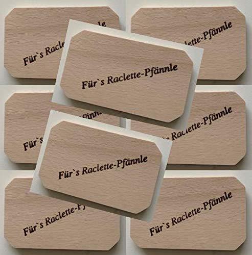 Hs24store 8 x Raclettebrettchen Buche Brettchen L 10 cm mit Aufdruck Raclette