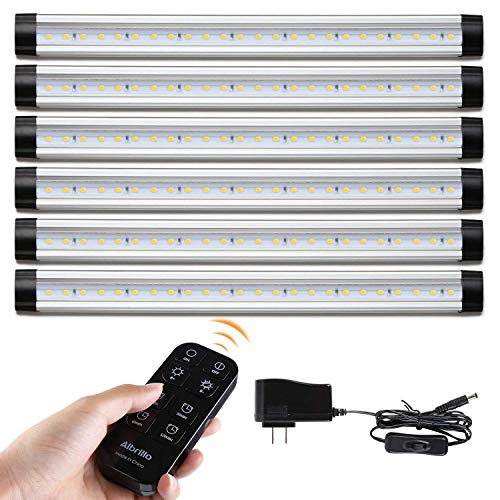 Albrillo Dimmable Remote Control LED Under Cabinet Lighting (6-Bar-Kit, Warm White 3000K)