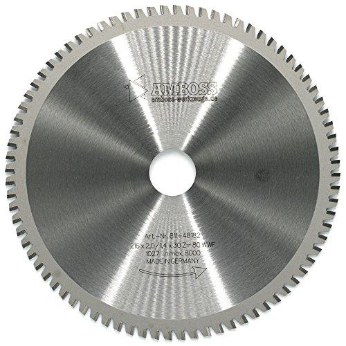 AMBOSS Werkzeuge Multifunktions-Kreissägeblatt - 216 x 30 mm (80 Zähne) - Aus hochwertigem Hartmetall - Kompatibel mit Kreissäge/Kappsäge von Bosch & Makita - Ideal für Holz, Kunststoff & Metall