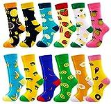 Jielucix Bunte Socken Damen 39-42 Lustige Socken Damen Witzige Baumwolle Farbige Anzugsocken Geschenk für Frauen (12 Paare E)